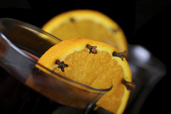 Mulled wine with decorative orange Royalty Free Stock Photography