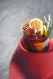 Mulled wine with different spices in the red cloth Royalty Free Stock Image