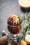 Mulled wine with different spices vertical Royalty Free Stock Photo