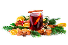 Mulled wine festive decorated with christmas spices on white Royalty Free Stock Photos