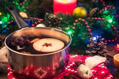 Mulled wine, festive dring for cold winter days.  stock photos