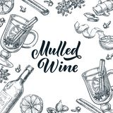 Mulled wine frame with hand drawn calligraphy lettering. Vector sketch illustration. Banner, label, menu design template. Mulled wine frame with hand drawn royalty free illustration
