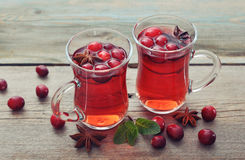 Mulled wine with fresh cranberry Royalty Free Stock Images