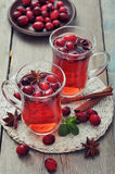Mulled wine with fresh cranberry Stock Photo