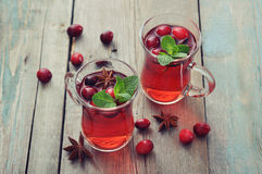 Mulled wine with fresh cranberry Royalty Free Stock Photos
