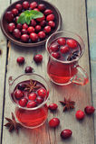 Mulled wine with fresh cranberry Stock Photography