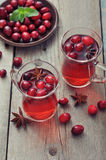 Mulled wine with fresh cranberry Stock Photos