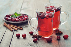 Mulled wine with fresh cranberry Stock Images