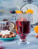 Mulled wine with fruits Royalty Free Stock Photo