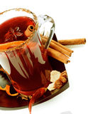 Mulled Wine and Fruits Stock Photography