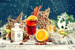 Mulled wine fruits spices Christmas window decoration vintage to stock image