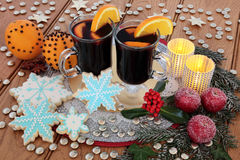 Mulled Wine and Gingerbread Biscuits Stock Image