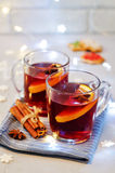 Mulled wine with gingerbread cookies and Christmas light Stock Photo
