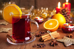 Mulled wine or glühwein on a rustic table Royalty Free Stock Images