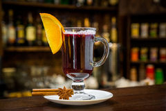 Mulled wine with  in the glass Royalty Free Stock Photo
