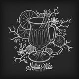 Mulled wine in the glass and components on the chalk board royalty free illustration