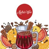 Mulled wine in the glass and components vector illustration