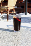 Mulled wine in a glass of creeping Royalty Free Stock Image