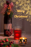 Mulled wine in a glass cup - Christmas greeting card Royalty Free Stock Photo