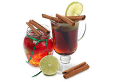 Mulled wine in glass Royalty Free Stock Images