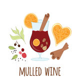 Mulled wine with glass of drink and hand drawn ingredients on white Royalty Free Stock Photo