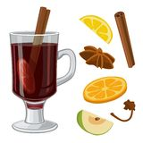 Mulled wine with glass of drink and ingredients. Vector flat illustration for greeting card, invitation, banner and poster. Royalty Free Stock Photography