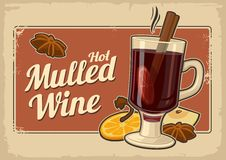 Mulled wine with glass of drink and ingredients.Vector old paper texture background. Vintage vector illustration for greeting card Royalty Free Stock Photo