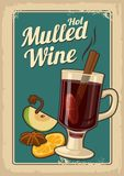 Mulled wine with glass of drink and ingredients.Vector old paper texture background. Vintage vector illustration for greeting card Royalty Free Stock Image
