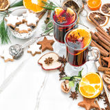 Mulled wine glass Hot red punch fruit spices Christmas food Royalty Free Stock Images