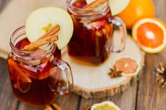 Mulled wine in glass Stock Image