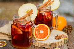 Mulled wine in glass Stock Photo