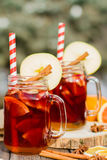Mulled wine in glass Stock Images