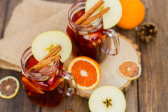 Mulled wine in glass Royalty Free Stock Image