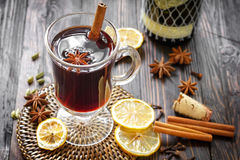 Mulled wine. In a glass on a table Stock Photo