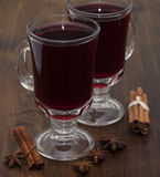 Mulled wine in glasses  . Stock Photo