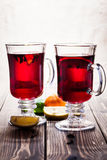 Mulled wine in the glasses Stock Photos