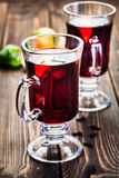 Mulled wine in the glasses Stock Image