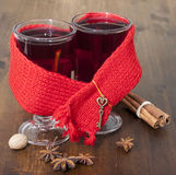 Mulled wine in glasses Stock Photos