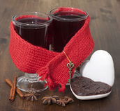 Mulled wine in glasses Stock Image