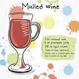 Mulled wine. Hand drawn illustration Royalty Free Stock Image
