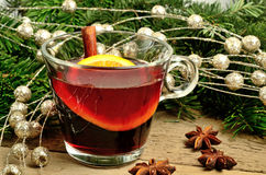 Mulled wine with holiday decoration Royalty Free Stock Photography