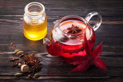 Mulled wine with honey and spices Stock Photography