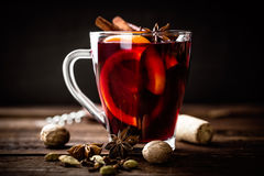 Mulled wine. Hot mulled wine with ingredients royalty free stock photography
