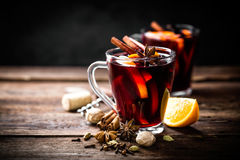 Mulled wine. Hot mulled wine with ingredients Royalty Free Stock Photo