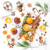 Mulled wine Hot red punch ingredients fruit spices Christmas foo Stock Images