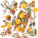 Mulled wine Hot red punch ingredients fruit spices Christmas foo Royalty Free Stock Photos