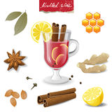Mulled Wine Icons Royalty Free Stock Images