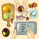 Mulled wine illustration Royalty Free Stock Photos