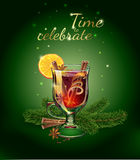 Mulled wine illustration postcard. Xmas drink. Royalty Free Stock Photography
