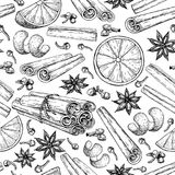 Mulled wine ingradients seamless pattern. Cinnamon stick tied bunch, anise star, orange, cloves. Vector drawing. Hand drawn sketch. Seasonal food background Stock Photo